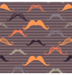 Vintage seamless pattern with mustache and stripes vector image