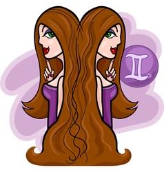 women cartoon gemini sign vector image