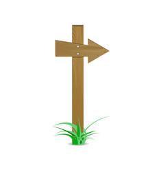 wood arrow sign vector image vector image