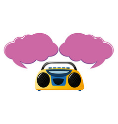 Yellow radio with two speech bubbles vector