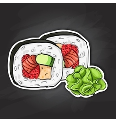 Sushi color sticker futomaki roll vector