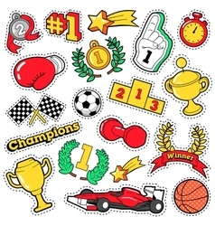 Comic badges patches stickers champions vector