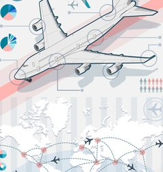 Infographic set elements with airplane in various vector