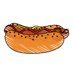 Color crayon stripe cartoon hot dog with mustard vector