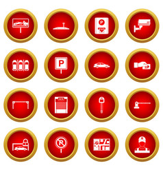 Car parking icon red circle set vector