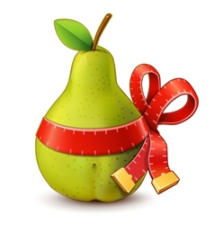Pear with measure tape ribbon bow vector