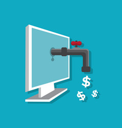 financial profit from the computer vector image