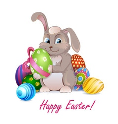 Easter rabbit with decorative eggs vector