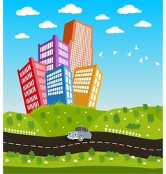 Cartoon downtown road landscape vector