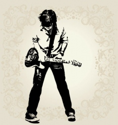 teen guitar player vector image