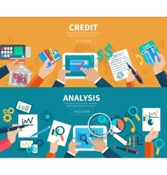 Credit analysis banner set vector