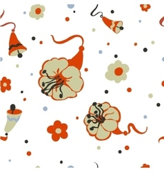 Seamless background with bells and flowers vector
