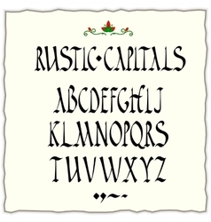 Rustic capitals style alphabet vector