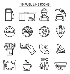Fuel station line icons isolated vector