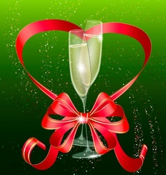 two champagne and red bow vector image