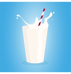 Glass of milk with tube vector