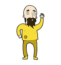 Comic cartoon bearded man waving vector