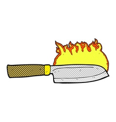 Comic cartoon kitchen knife on fire vector