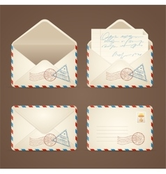 Letter mail vintage set vector