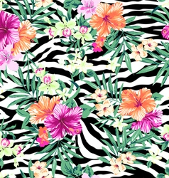 Tropical flowers on zebra background vector