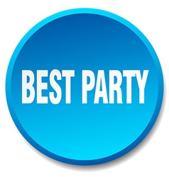 Best party blue round flat isolated push button vector