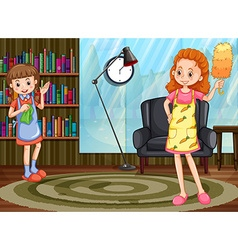 Mom and daughter cleaning house vector