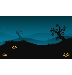 Silhouette of halloween scary in hills with dry vector
