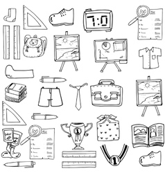 Shcool object doodles classroom supplies vector