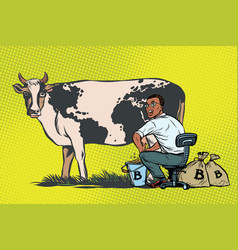 African businessman mines bitcoins milking a cow vector