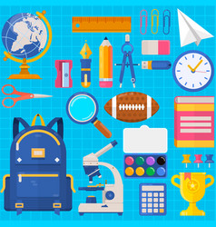 back to school bag pupil or student training vector image vector image