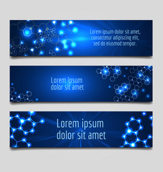 banner with glowing molecular structure vector image