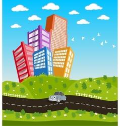 Cartoon downtown road landscape vector image vector image