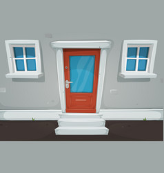 cartoon house door and windows in the street vector image vector image