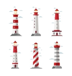 Cartoon lighthouse icons beacon or pharos vector image vector image