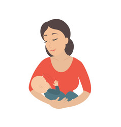 Circle icon depicting mother breastfeeding her vector