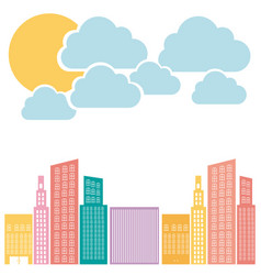 Color builds with cloud and sun icon vector