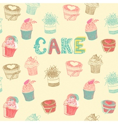 Cupcakes pattern background vector