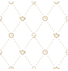 english tea party elegant gold on white line vector image