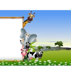 funny animal cartoon with blank sign vector image vector image
