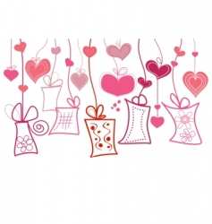 gift boxes and hearts vector image