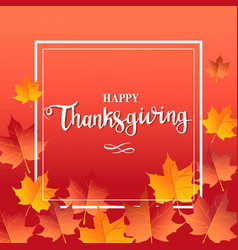 happy thanksgiving day red background with maple vector image