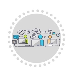 Icon Flat Style Design Working Group vector image