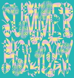 Inscription summer holiday on a turquoise vector image vector image