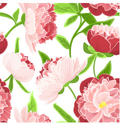 Peony rose flowers seamless pattern red pink green vector