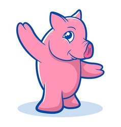 Pink pig cartoon vector