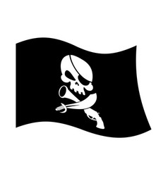 pirate flag skull and crossbones piratical black vector image vector image