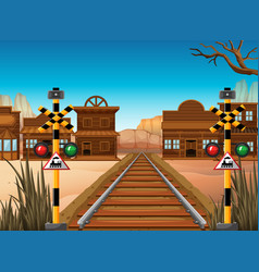 Railroad scene in the western town vector