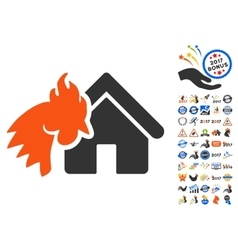 Red rooster realty disaster icon with 2017 year vector