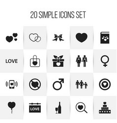 Set of 20 editable love icons includes symbols vector