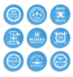 set of drone logos badges emblems and design vector image